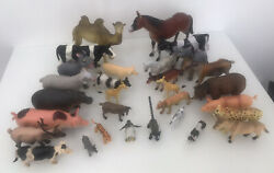 Bundle Of Plastic Animals Different Sizes And Makes Farm + Zoo Lot
