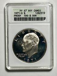1971-s Tdo And Ddr Anacs Pf 67 Heavy Cameo Proof Silver Eisenhower Dollar 1