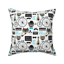Mustache Vintage Bike Hipster Throw Pillow Cover W Optional Insert By Roostery