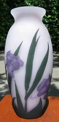 Early 1900and039s Arsall Art Nouveau Cameo Art Glass Signed 12 Vase With Irises