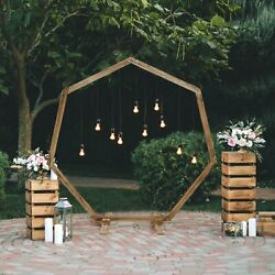7ft Wooden Wedding Arch Heptagonal Wedding Arbor Photo Booth Backdrop Stand