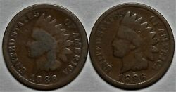 1886 Types 1 And 2 Indian Head Cents Us 1c Penny Coin Flat Rate Shipping