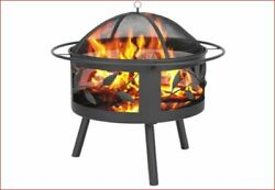 Eprosmin Outdoor Fire Pit W/cooking Grate Outdoor Heavy Duty Fire Pits Bbq Grill