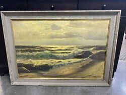 """Vintage Robert Wood """"sea And Sand"""" 1937 Large Print Painting In Frame 41x29.5"""""""