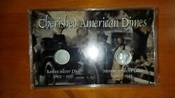 Cherished American Dimes Barber And Mercury 2 Silver Dime Coins