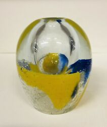 Art Glass Paperweight Oil Lamp Bubbles Yellow Blue Clear Handmade In Poland