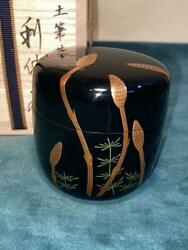 Japanese Wooden Lacquer Makie Tea Caddy Natsume Horsetail W/ Box