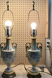 Set Of Two Vintage Ceramic Floral Electric Lamps Signed