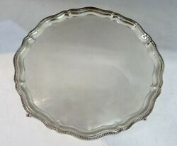Sterling Silver Round Footed Tray, English Hallmarked. 13.75 Maximum Diameter
