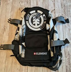 Element Skateboard Brand Backpack Unisexblack With 4 Pockets And 1 Main Opening