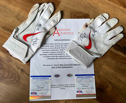 2 Mike Trout Signed Game Used Worn 2020 Batting Gloves Anderson And Psa/dna Auth