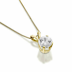 Round Cut Real Diamond Pendant 14kt Yellow Gold 1.00 Ct D/si1