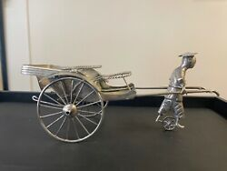 Antique Chinese 95 Silver Excellent Design Statue Of Rickshaw And Figurine