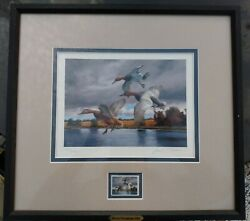 2005 David A. Maass Hand Signed Ducks Unlimited 492/5000 Print And Stamp Framed