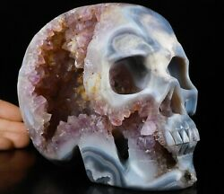 Amazing 6.6 Agate Amethyst Geode Carved Crystal Skull,super Realistic 916