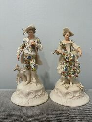 Vintage Antique Pair Of European Porcelain Figurines Man With Dog And Woman