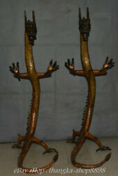 Old Chinese Cloisonne Enamel Bronze Fengshui 12 Zodiac Year Dragon Statue Pair
