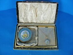 Vintage Styled By Bliss 1940and039s Gift Box Set Compact W/10k Locket Necklace-rare