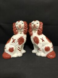 PAIR VINTAGE STAFFORDSHIRE TYPE DOGS