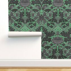 Removable Water-activated Wallpaper Damask Paris Green Black Flower Leaves