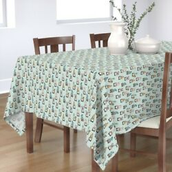 Tablecloth Spring Gnomes Easter Eggs Earthy Pastels Mint Lad Cute Cotton Sateen