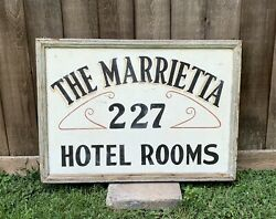 Antique Marrietta Hotel Rooms Double Sided Hand Painted Wood And Tin Sign 29andrdquo Wide