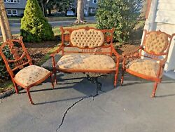 Antique Louis Xvi French Loveseat +2 Chairs Parlour Set Woven Upholstery