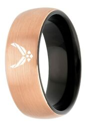 Tungsten King Two Tone Rose Gold Ion Plated Brushed Center 8mm Military Logo