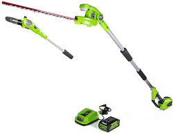 Greenworks 40v 8-inch Cordless Pole Saw With Hedge Trimmer Attachment 2.0ah Batt