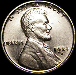 1924-d Lincoln Cent Wheat Penny Us Coin ---- Gem Bu+ Details ---- S351