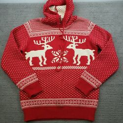 Merry Christmas V28 Hooded Red Reindeer Acrylic Sweater Size Xl Fair Isle
