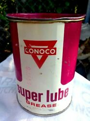 Vintage Conoco Oil Company Super Lube 1 Pound Grease Can Advertising Tin