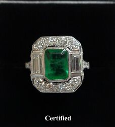 Vintage Art Deco Emerald And Diamond Cluster Ring 750 18ct White Gold - Size N