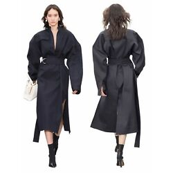 Celine Black Cotton And Wool Belted Tunic Shirt Dress Size 36 Phoebe Philo