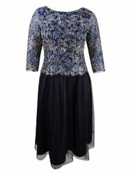 Alex Evenings Womenand039s Petite Embroidered A-line Dress 6p Navy/gold