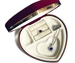 Heart Shaped Red Velvety Jewelry Trinket Box With Mirror Divided Compartments