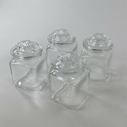Vintage Clear Glass Canister Square Spice Apothecary Jars 3.5 Tall Lot Of 4
