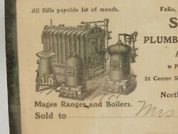 Antique Shumway And Riley Plumber Steam And Gas Fitter 1902 Receipt For Repairs