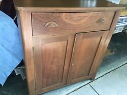 Antique Solid Walnut Country Primitive Jelly Cupboard Cabinet Circa 1850's
