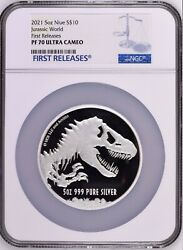 2021 Niue 5oz Jurassic World Park .999 Silver Ngc Pr70 Proof 10 First Releases