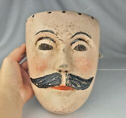 Antique Hand Carved Wooden Folk Art Man Circus Carnival Mask Hand Painted