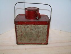 Antique Tin Christmas Candy Container Lunch Pail