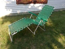 Vintage Aluminum Folding Beach Lawn Patio Outdoor Lounge Chair - Green Webbed