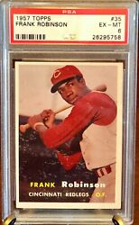 1957 Topps Frank Robinson 35 Rookie Rc Psa 6 - Ex-mt Reds Orioles Angels Hof