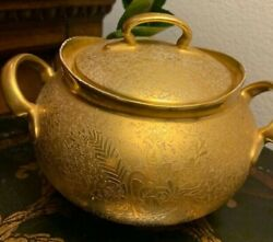 Antique Hutschenreuther Selb Sugar Bowl With Lid All Over Gold Encrusted