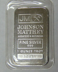 Johnson Matthey Assayers And Refiners 1 Oz .999 Fine Silver Bar Serial Numbered