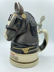 Budweiser Clydesdale Horse Head Beer Stein 1995 Limited 18207 Cert Authenticity