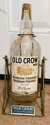 Rare Vintage 1960s Old Crow Bourbon Whiskey Wire Framed Swivel Bottle Display