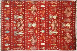 Afghan Brick Manufacture Khorjin Tree Carpet Hand Knotted 210x300 Red Tree Wool