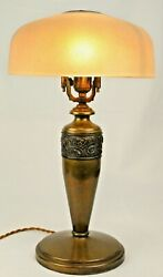Antique Pilabrasgo Pittsburgh Lamp Brass And Glass Table Lamp Carnival Glass Shade